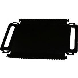 Bandeja Cartón Rectangular Negra Asas 30x12 cm (100 Uds)