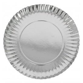 Plato de Carton Redondo Plateado 100 mm (100 Uds)