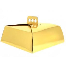 Caja Carton Oro Tarta Cuadrada 15x22x8 cm (50 Uds)