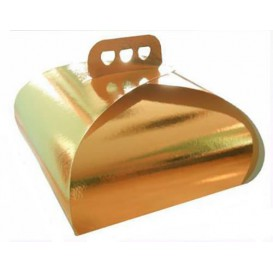 Caja Carton para Tartas Oro Lazo 30,5x30,5x14 cm (50 Uds)