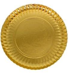 Plato de Carton Redondo Dorado 180 mm (100 Uds)