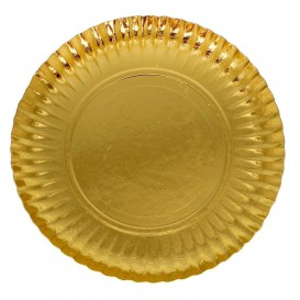 Plato de Carton Redondo Dorado 350 mm (50 Uds)