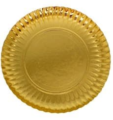 Plato de Carton Redondo Dorado 410 mm (25 Uds)