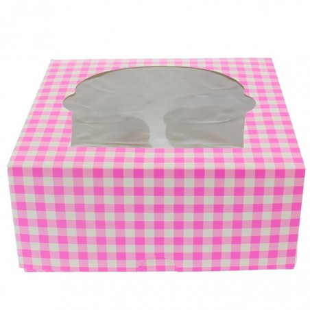 Caja 4 Cupcakes con Soporte 17,3x16,5x7,5cm Rosa (20 Uds)