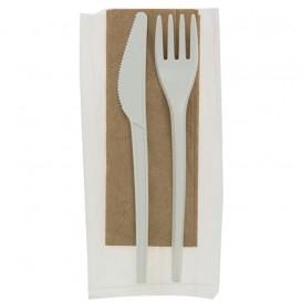 Set Cubiertos Tenedor, Cuchillo y Servilleta CPLA (250 Uds)