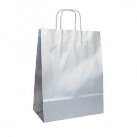 Bolsa Papel Kraft Plata con Asas 100g 24+12x31 cm (50 Uds)