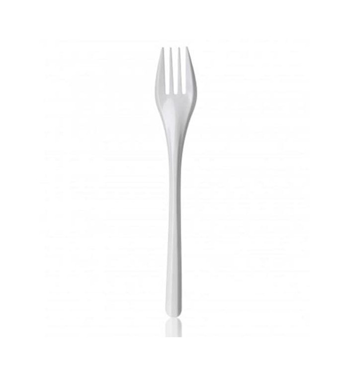 Tenedor de Plastico PS Blanco 165mm (100 Uds)