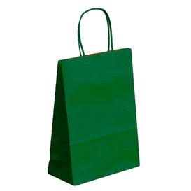 Bolsa Papel Kraft Verde con Asas 80g 26+14x32 cm (50 Uds)
