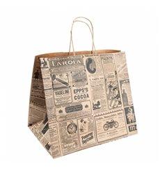 "Bolsa Papel Kraft con Asas ""Times"" 80g 26+14x32 cm (50 Uds)"