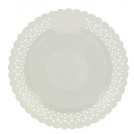 Plato de Carton Redondo Blonda Blanco 23 cm (50 Uds)