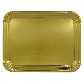 Bandeja de Carton Rectangular Dorada 12x19 cm (100 Uds)