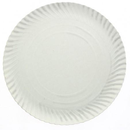 Plato de Carton Redondo Blanco 140 mm (100 Uds)