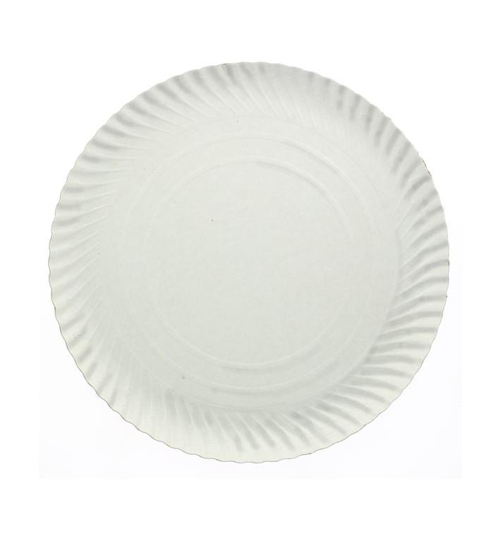 Plato de Carton Redondo Blanco 230 mm 600g/m2 (100 Uds)