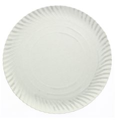 Plato de Carton Redondo Blanco 120 mm 450g/m2 (100 Uds)