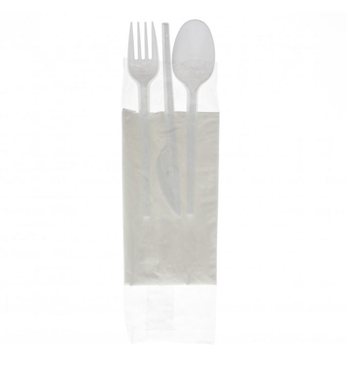 Set Cubiertos Tenedor, Cuchara, Cuchillo y Servilleta (250 Uds)