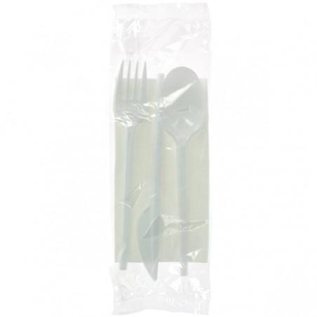 Set Cubiertos Tenedor, Cuchara, Cuchillo y Servilleta (500 Uds)