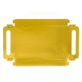 Bandeja Cartón Rectangular Oro Asas 28,5x38,5 cm (100 Uds)