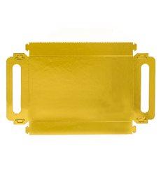 Bandeja Cartón Rectangular Oro Asas 32x7,5 cm (100 Uds)