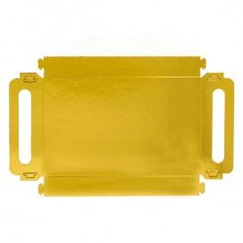 Bandeja Cartón Rectangular Oro Asas 30x12 cm (100 Uds)