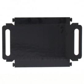 Bandeja Cartón Rectangular Negra Asas 22x28 cm (100 Uds)