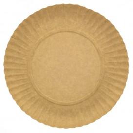 Plato de Carton Redondo Kraft 230 mm (100 Uds)
