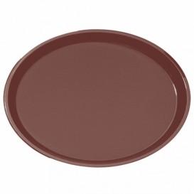 Bandeja PP Oval Antideslizante Marrón 67,0x55,5cm (1 Ud)
