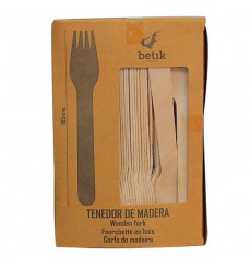 Tenedor de Madera Natural 160mm (100 Uds)
