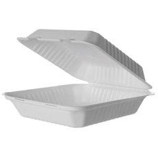 Envase MenuBox Caña Azúcar Blanco con PLA 23x23x7,5cm (50 Uds)