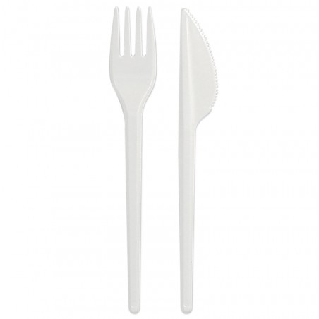Set de Cubiertos Tenedor y Cuchillo Blancos (25 Uds)