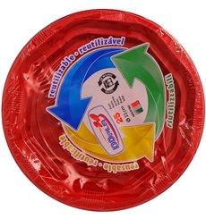 Plato Hondo Redondo Octogonal Plastico PS Rojo Ø22cm (25 Uds)
