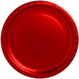 """Plato de Carton Redondo """"Party"""" Rojo Ø340mm (3 Uds)"""