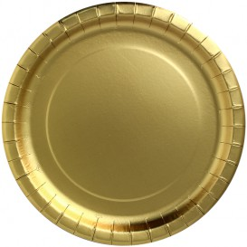 """Plato de Carton Redondo """"Party Shiny"""" Oro Ø180mm (10 Uds)"""