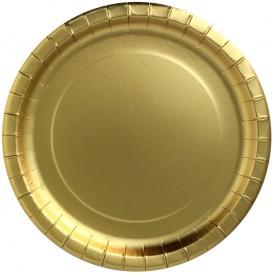 """Plato de Carton Redondo """"Party Shiny"""" Oro Ø230mm (10 Uds)"""