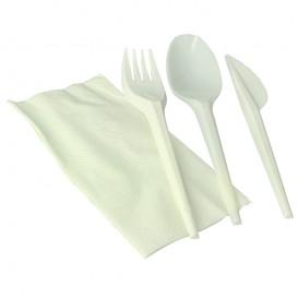 Set Cubiertos Tenedor, Cuchara, Cuchillo y Servilleta Almidón Maíz PLA (100 Uds)
