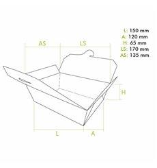 Caja Americana Mediana Kraft 15x12x6,5cm 1150ml (50 Uds)