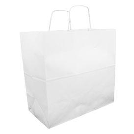 Bolsa Papel Kraft Blanca con Asas 100g 35+15x30cm (25 Uds)