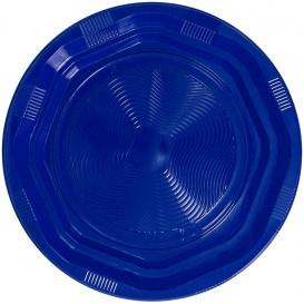 Plato Redondo Octogonal Plastico PS Azul Ø220 mm (25 Uds)