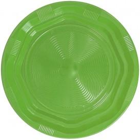 Plato Redondo Octogonal Plastico PS Verde Lima Ø220 mm (25 Uds)