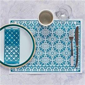 "Mantel Individual Papel 30x40cm ""Alhambra"" Turquesa 35g/m² (1000 Uds)"