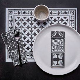 "Mantel Individual Papel 30x40cm ""Alhambra"" Negro 35g/m² (1000 Uds)"