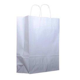 Bolsa Papel Kraft Blanca con Asas 100g 25+13x33cm (25 Uds)