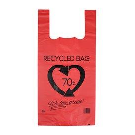 Bolsa Plástico Camiseta 70% Reciclado Rojo 42x53cm G200 (50 Uds)