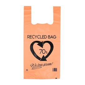 Bolsa Plástico Camiseta 70% Reciclado Naranja 42x53cm G200 (50 Uds)