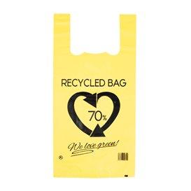 Bolsa Plástico Camiseta 70% Reciclado Amarillo 42x53cm G200 (50 Uds)