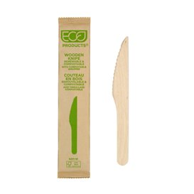 Cuchillo de Madera Desechable Enfundado 16,5cm (25 Uds)