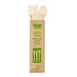 Set de Cubiertos de Madera Desechable Tenedor, Cuchillo, Cuchara y Servilleta (25 Uds)