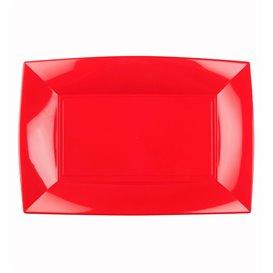 Bandeja Reutilizable PP Rojo Nice 28x19cm (12 Uds)