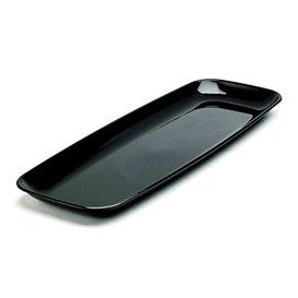 Bandeja Reutilizable PS Rectangular Dura Negro 17x45cm (5 Uds)