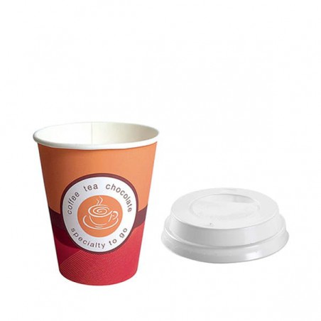 "Vaso Carton 6 Oz/180ml ""Specialty""+ Tapa Agujero (1.000+ 1.000 Uds)"
