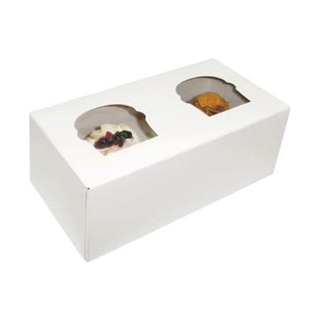 Caja con Soporte para 2 Cupcakes 19,5x10x7,5 Blanca B-20 (160 Un